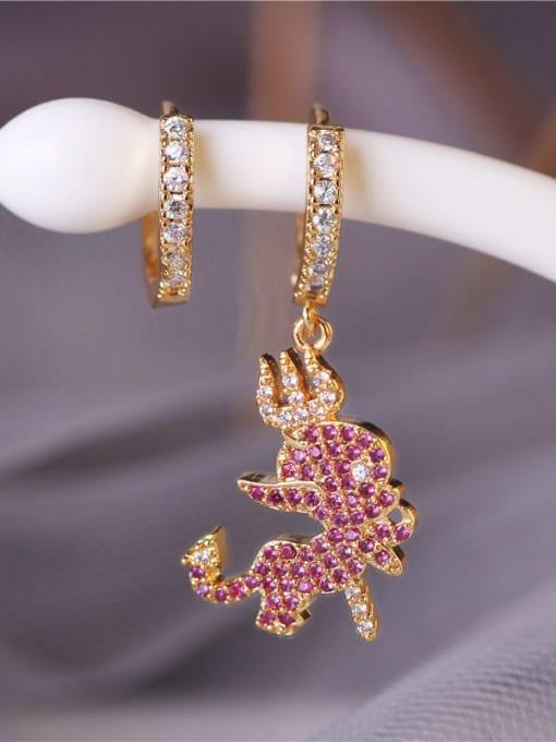 DUDU Brass Cubic Zirconia Irregular Vintage Asymmetry  Huggie Earring 1