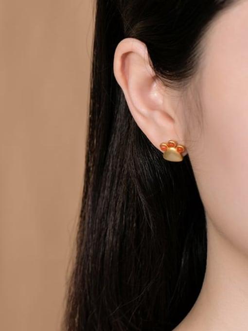 DEER 925 Sterling Silver Carnelian Triangle Vintage Stud Earring 1