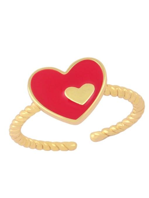 red Brass Enamel Heart Minimalist Band Ring