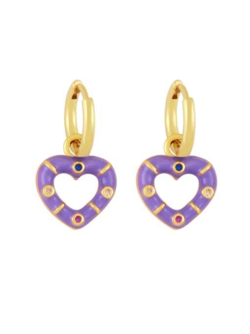 purple Brass Enamel Heart Vintage Huggie Earring