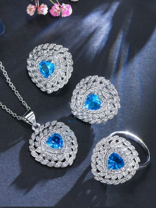 Sea blue ring size 7 Brass Cubic Zirconia Luxury Heart Earring Ring and Necklace Set
