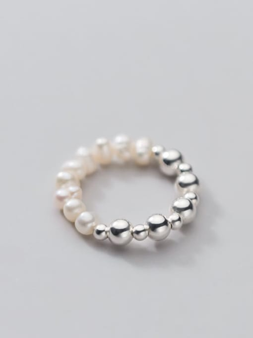 Rosh 925 Sterling Silver Imitation Pearl Round Minimalist Band Ring 0