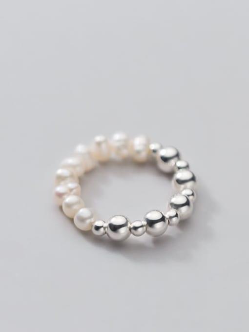 Rosh 925 Sterling Silver Imitation Pearl Round Minimalist Band Ring