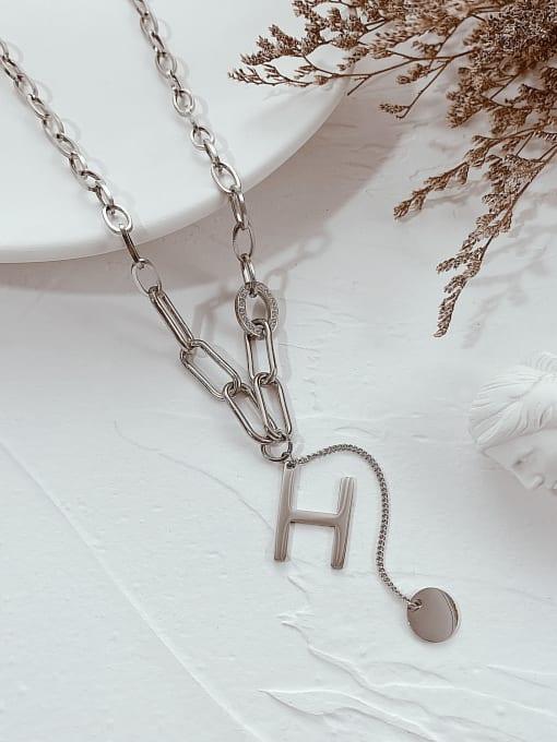 Open Sky Titanium Steel Letter Minimalist Lariat Necklace 2