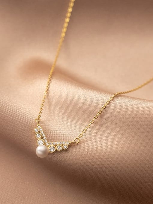 Rosh 925 Sterling Silver Imitation Pearl Wing Minimalist Necklace