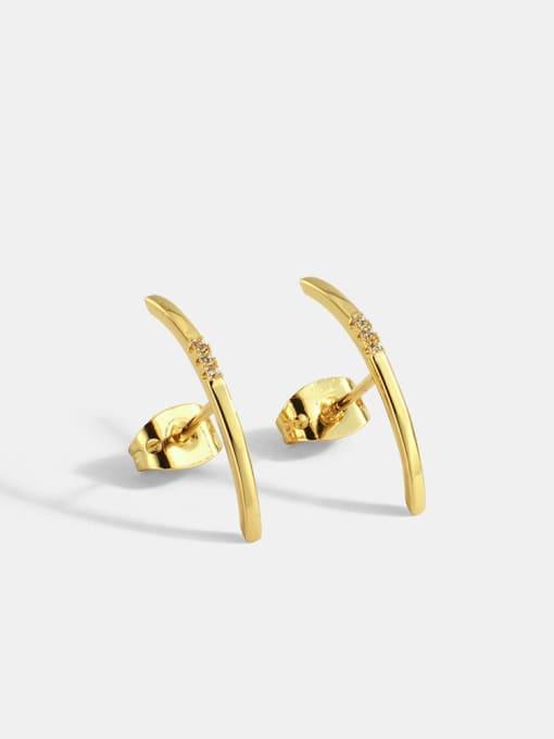 CHARME Brass Rhinestone Geometric Minimalist Stud Earring