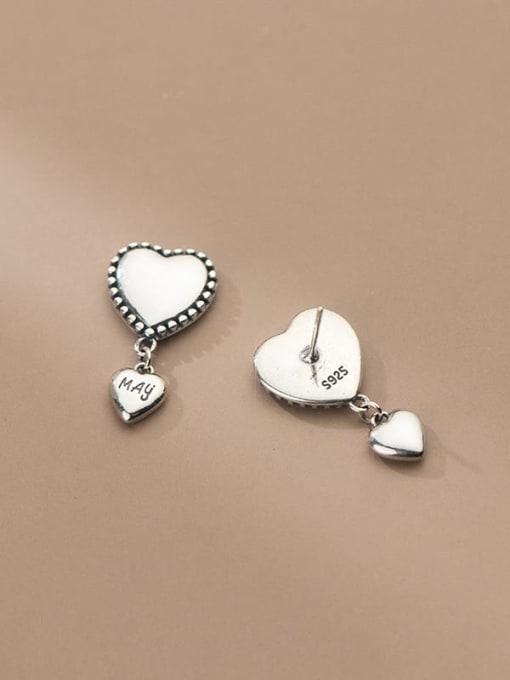 Rosh 925 Sterling Silver Heart Vintage Drop Earring 2