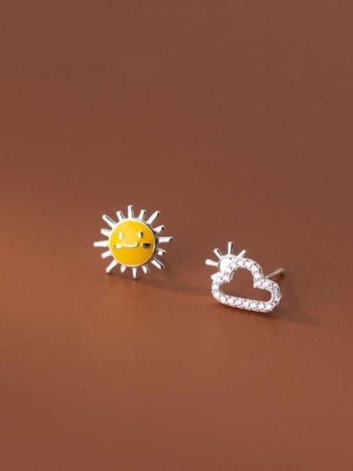Rosh 925 Sterling Silver Cubic Zirconia Enamel Asymmetry Cloud Minimalist Stud Earring