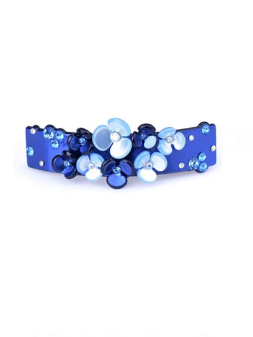 royal blue Cellulose Acetate Minimalist Flower Zinc Alloy Spring clip Hair Barrette