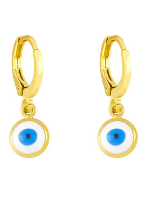 white Brass Enamel Evil Eye Minimalist Huggie Earring