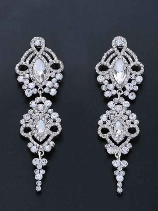 platinum Alloy Cubic Zirconia Tassel Vintage Drop Earring