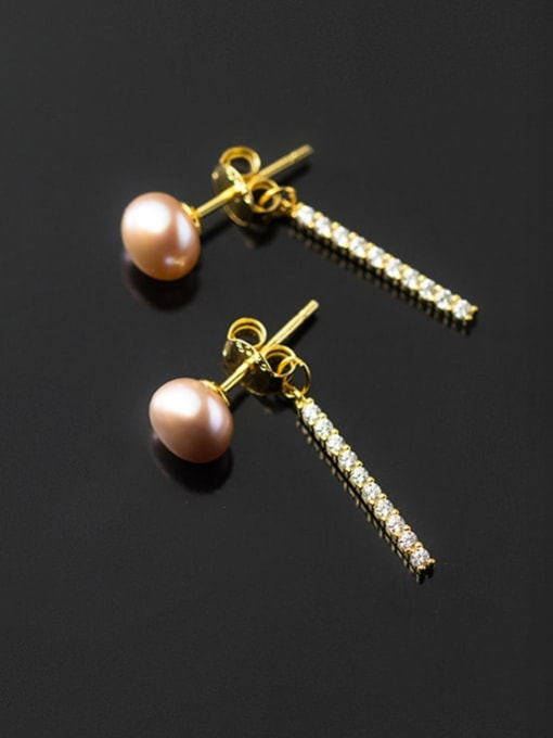 Rosh 925 Sterling Silver Imitation Pearl Tassel Minimalist Drop Earring 0