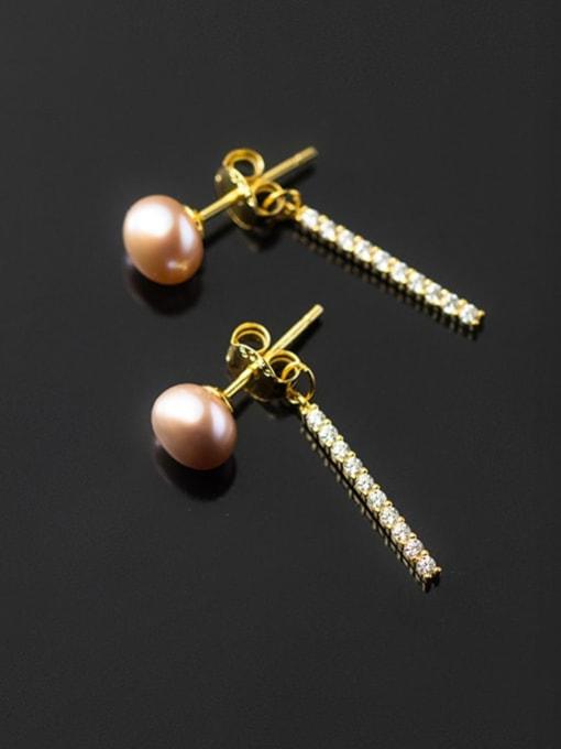 Rosh 925 Sterling Silver Imitation Pearl Tassel Minimalist Drop Earring