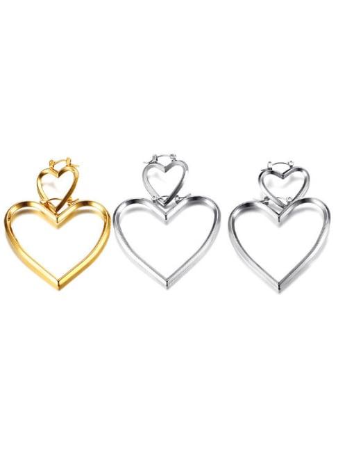 CONG Stainless steel Hollow Heart Minimalist Single Earring