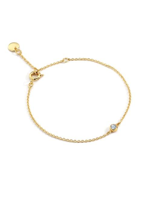 CHARME Brass Rhinestone Geometric Minimalist Link Bracelet
