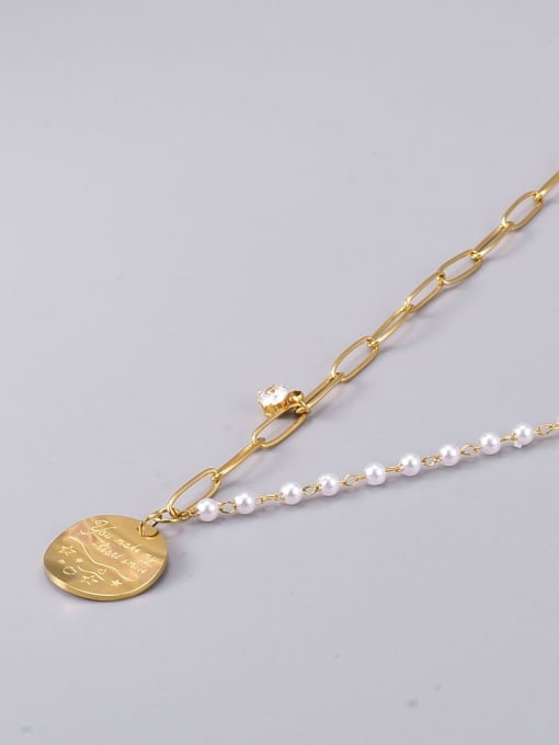 A TEEM Titanium Steel Imitation Pearl Geometric Vintage Necklace 2