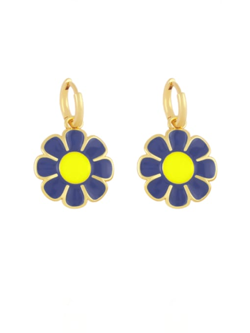 Dark blue Brass Enamel Flower Minimalist Huggie Earring