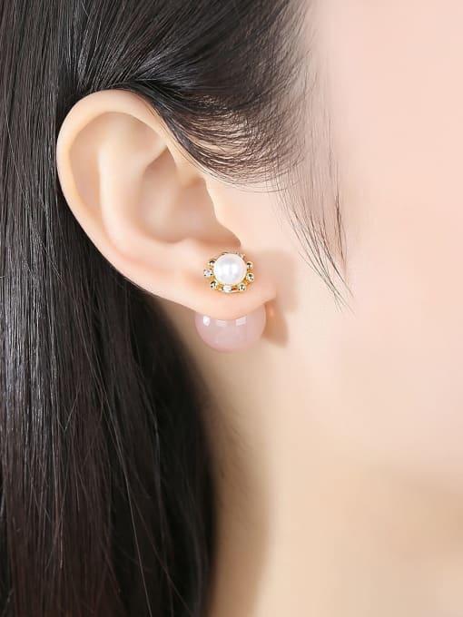 BLING SU Copper Imitation Pearl Round Minimalist Stud Earring 1