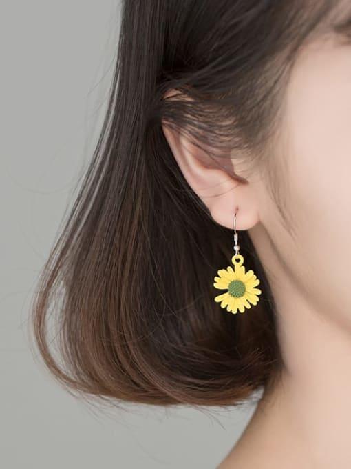Rosh 925 Sterling Silver Flower Minimalist Hook Earring 2
