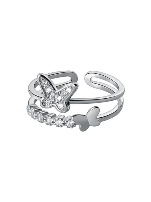 Rosh 925 Sterling Silver Cubic Zirconia Butterfly Minimalist Stackable Ring 2