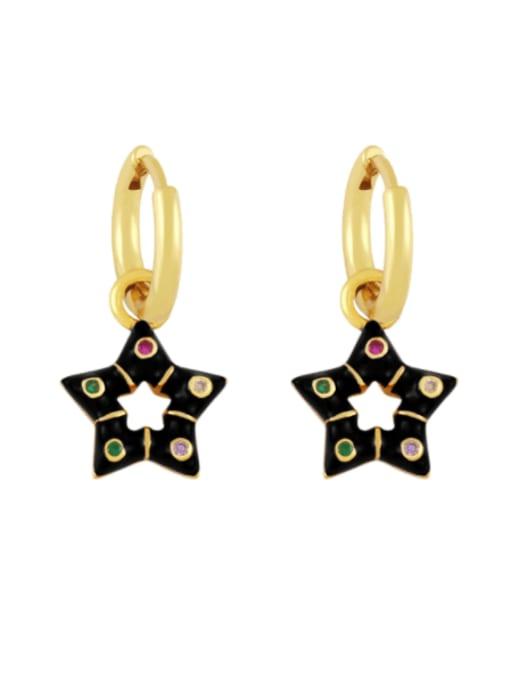 black Brass Multi Color Enamel Star Vintage Huggie Earring