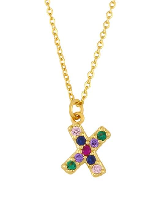 X Brass Cubic Zirconia Letter Vintage Necklace