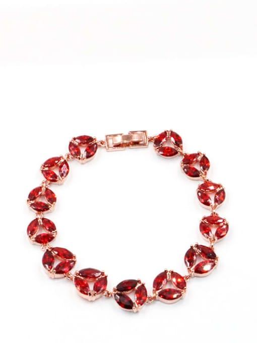 Garnet Brass Cubic Zirconia Geometric Dainty Bracelet