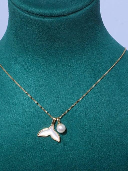 Mermaid tail Brass Freshwater Pearl Cloud Minimalist Necklace
