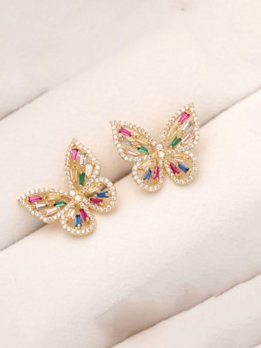 Luxu Brass Cubic Zirconia Butterfly Trend Threader Earring 2