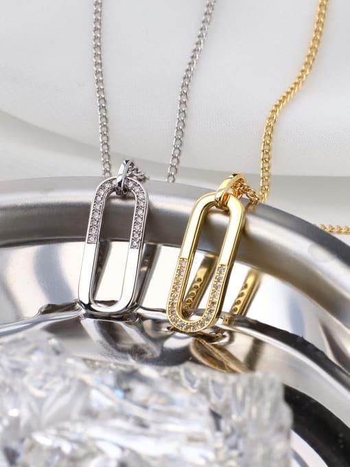 CHARME Brass Rhinestone Geometric Minimalist Necklace 1
