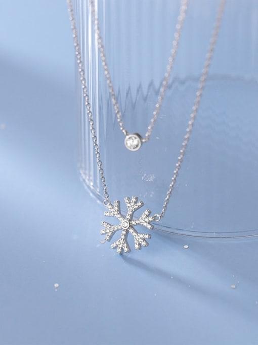 Rosh 925 Sterling Silver Cubic Zirconia Flower Minimalist Multi Strand Necklace 2