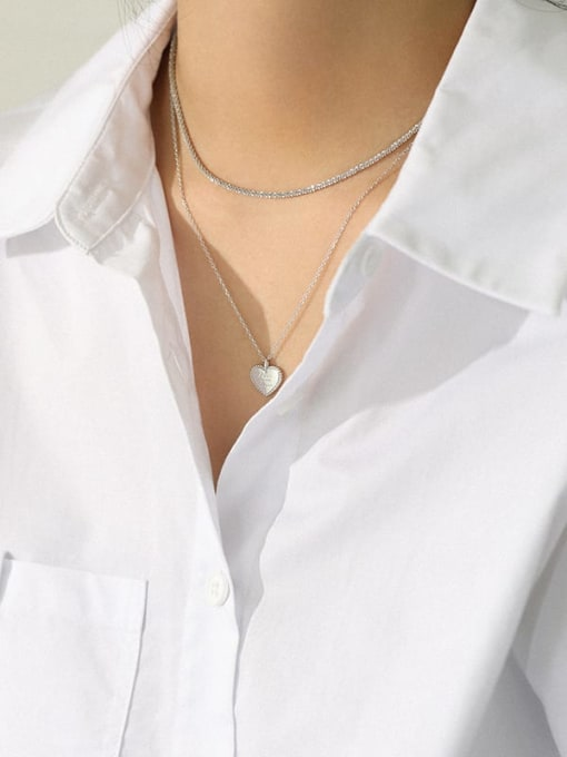 DAKA 925 Sterling Silver Heart Minimalist Necklace 3
