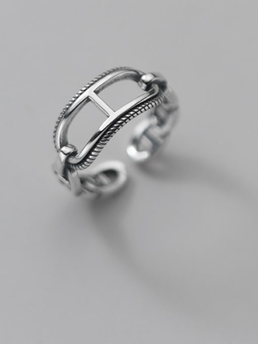 Rosh 925 Sterling Silver Geometric Vintage Band Ring 0