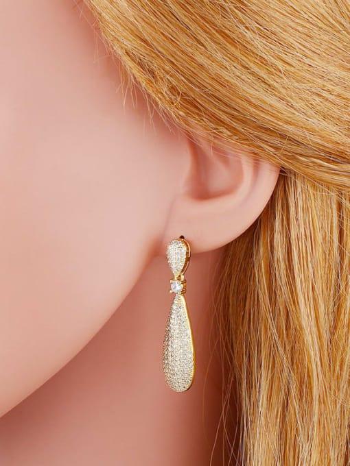 CC Brass Cubic Zirconia Geometric Minimalist Cluster Earring 3