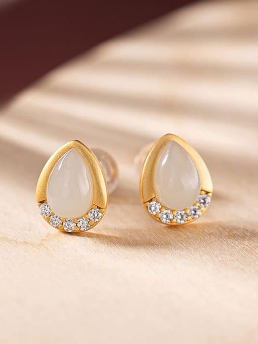 White jade (a pair) 925 Sterling Silver Jade Water Drop Vintage Stud Earring