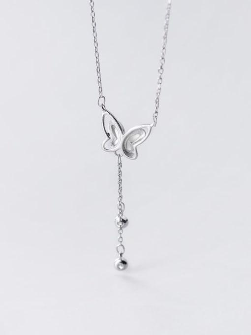 Rosh 925 Sterling Silver Tassel Minimalist Shell  butterfly Lariat Necklace 2