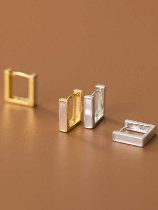 Rosh 925 Sterling Silver Shell Geometric Minimalist Stud Earring 1