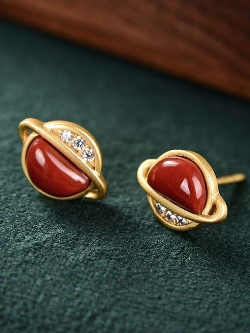 DEER 925 Sterling Silver Jade Star Vintage Stud Earring 2