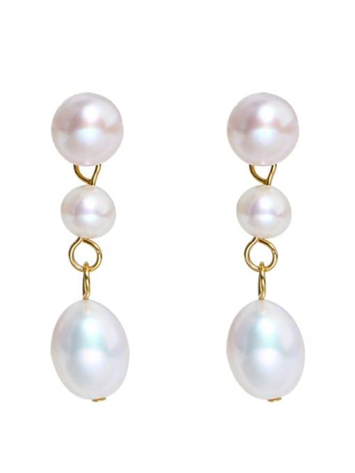 RAIN Brass Freshwater Pearl Water Drop Minimalist Long Drop Earring 0
