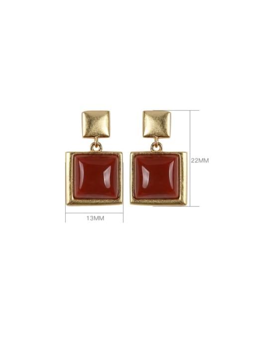 DEER 925 Sterling Silver Carnelian Geometric Vintage Drop Earring 2