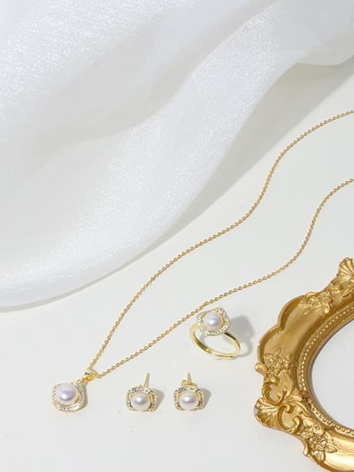 RAIN Brass Freshwater Pearl Minimalist Geometric  Earring Ring and Necklace Set 2