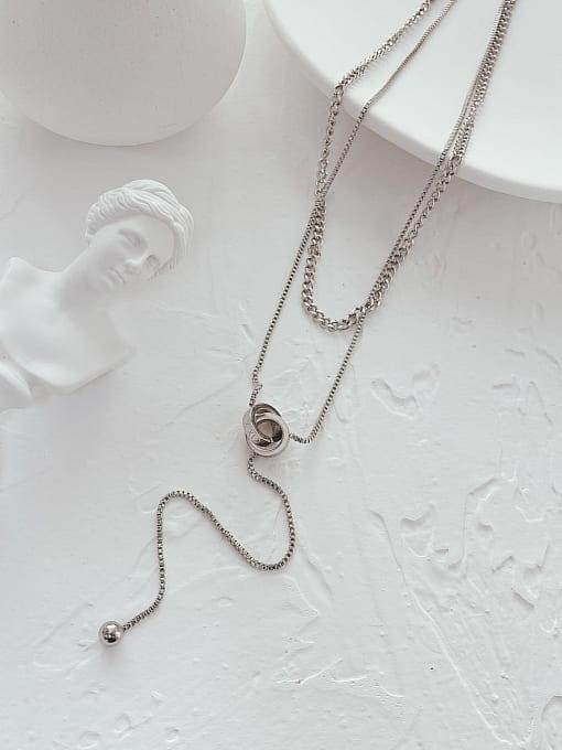 Open Sky Titanium Steel Tassel Minimalist Lariat Necklace 1