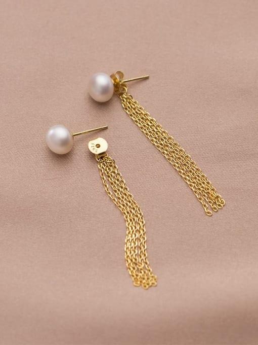 Rosh 925 Sterling Silver Freshwater Pearl Tassel Minimalist Threader Earring 4