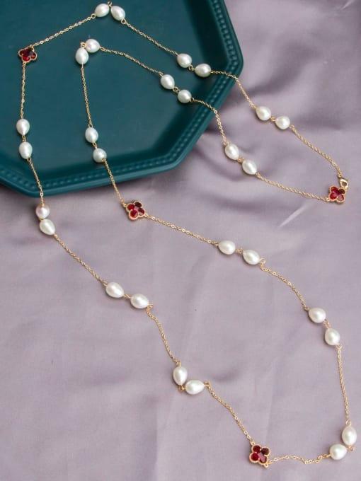 RAIN Brass Freshwater Pearl Geometric Vintage Multi Strand Necklace