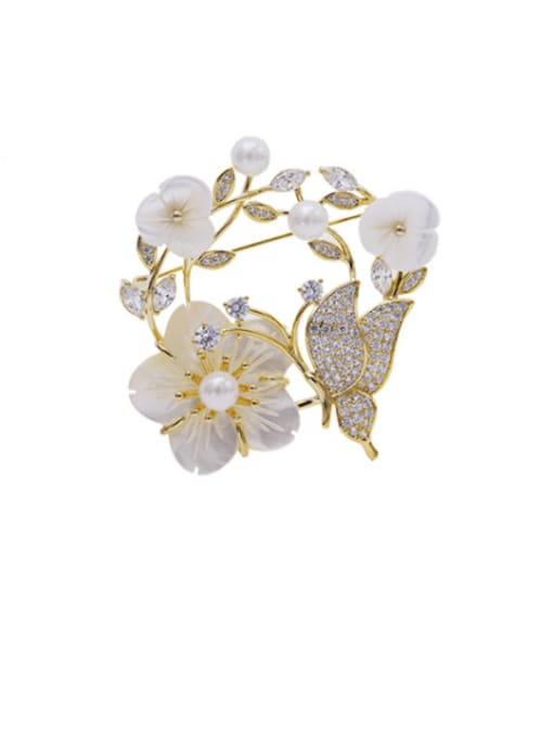 Luxu Brass Cubic Zirconia Flower Statement Brooch 0