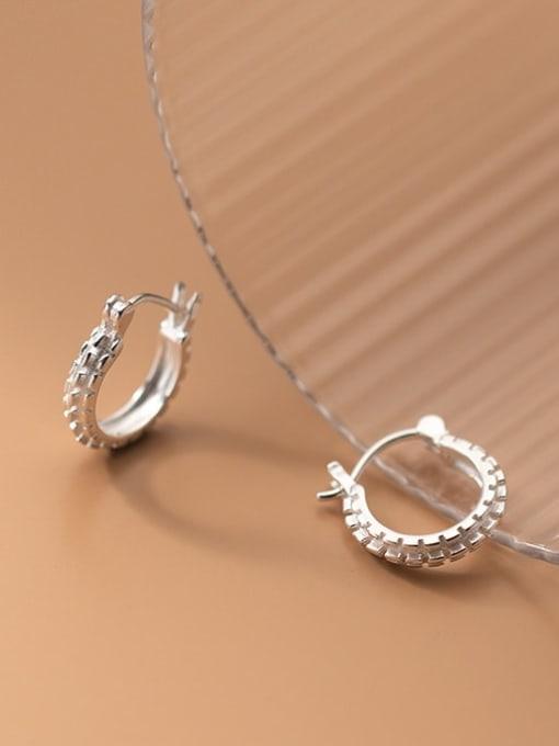 Rosh 925 Sterling Silver Rhinestone Geometric Minimalist Huggie Earring