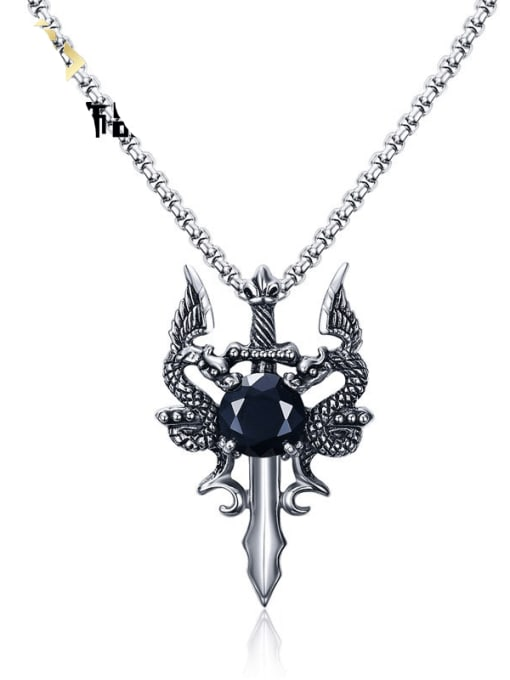 CONG Stainless steel Cubic Zirconia Irregular Vintage Necklace 0