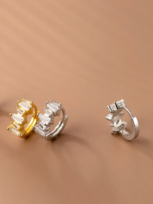 Rosh 925 Sterling Silver Cubic Zirconia Geometric Vintage Huggie Earring 3