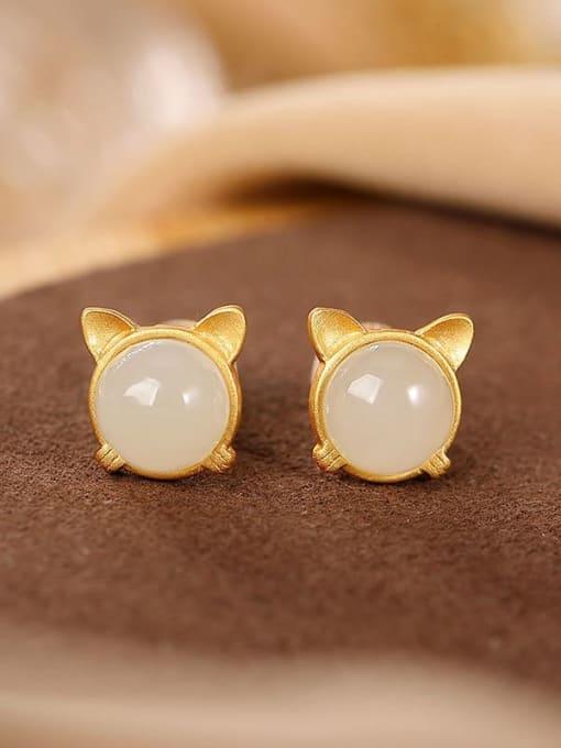 DEER 925 Sterling Silver Jade Cat Vintage Stud Earring 3