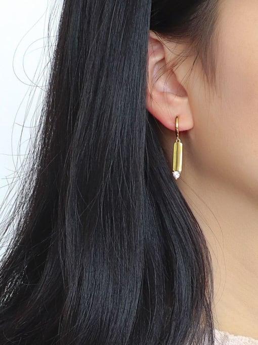 CHARME Brass Cubic Zirconia Geometric Minimalist Stud Earring 2